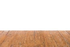 Empty old wooden table for product placement or montage on white background. Copy space for text. Empty old wooden table for product placement or montage on Royalty Free Stock Photo