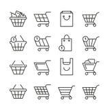 Empty online shopping baskets, market box line web shop vector icons. Illustration set of basket shop for buy purchase Stock Image