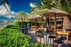 Empty open air restaurant at Ibiza Stock Images