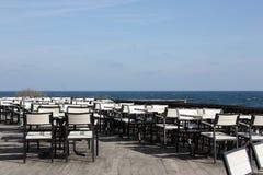 Empty open air restaurant stock photography