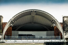 Empty Open-Air Stage. White empty stage in open-air Royalty Free Stock Photo