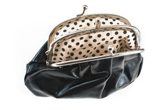 Empty open black purse Royalty Free Stock Photo