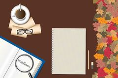 Loneliness autumn table concept. Empty open book with the inscription of loneliness magnified under magnifying glass and empty notepad ready for your text and vector illustration