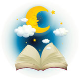 An empty open book with a sleeping moon Stock Image
