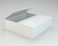Empty open box on gray background. Royalty Free Stock Photography