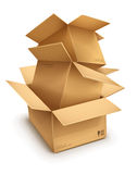 Empty open cardboard boxes Royalty Free Stock Photos