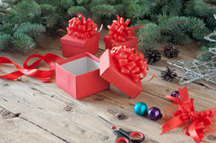Empty open Christmas gift box Royalty Free Stock Images