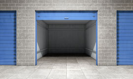 Empty open door self storage unit. 3d rendering Royalty Free Stock Photography