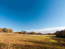 Empty open grass land farm land scene plain agriculture blue sky. Clear; essex; england; uk Stock Photos