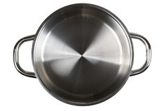 Empty open stainless steel cooking pot top view from above isola Royalty Free Stock Photos