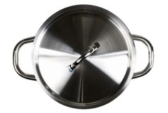 Empty open stainless steel cooking pot top view from above isola. Ted on white background Stock Photo