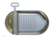Empty open tin. Empty open metal tin on white background Royalty Free Stock Photos