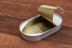 Empty open tin can Royalty Free Stock Image