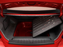 Empty open trunk of a car 3d render Stock Images