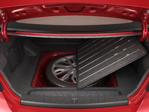 Empty open trunk of a car 3d render Stock Image