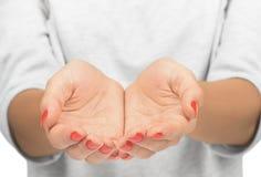 Empty open woman's hands Stock Images
