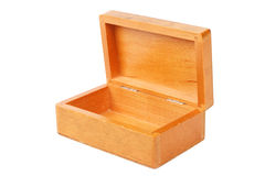 Empty open wooden box isolated Royalty Free Stock Images