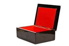 Empty open wooden box isolated Royalty Free Stock Photo