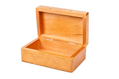 Empty open wooden box isolated Stock Image