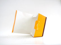 Empty open yellow paper box Royalty Free Stock Photography