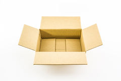 Empty opened corrugated  cardboard box. Stock Photography