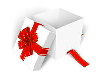 Empty opened gift box. Empty opened white gift box with red ribbon Royalty Free Stock Image