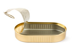 Empty opened oblong tin. Standing on a white Royalty Free Stock Photo