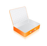 Empty opened orange suitcase Royalty Free Stock Photo