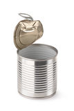 Empty opened steel can. Placed on white background Royalty Free Stock Images