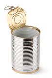 Empty opened tin. Standing on a white Stock Photography