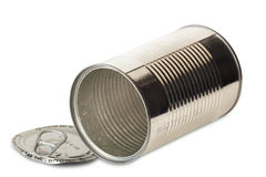 Empty opened tin can Stock Photos