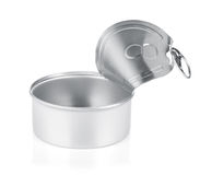 Empty opened tin can Stock Image