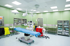 Empty operation room surgery. Empty, clean and light operation room in a hospital stock image