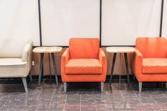 Empty orange chair. Interior decoration in livingroom royalty free stock photo