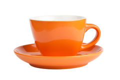 Empty orange cup, front view. Empty orange cup isolated on white, front view Royalty Free Stock Photo