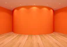 Empty Orange Curve Room Royalty Free Stock Photo