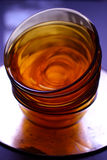 Empty orange glass bowls Stock Photography