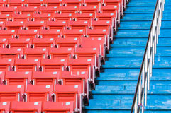 Empty orange seats at stadium Royalty Free Stock Image