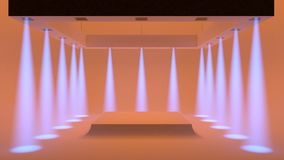 Empty orange studio with spotlights on the edges and soft smooth light in the center. 3d rendering. Empty orange studio with spotlights on the edges and soft stock illustration