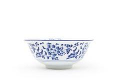Empty oriental round bowl. Isolated on white Stock Photo
