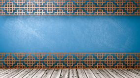 Empty Oriental Style Room with Copyspace. Empty Room with Oriental Style Wooden Lattice Partition, Wooden Floor and Blue Wall with Copy Space 3D Illustration Royalty Free Stock Image
