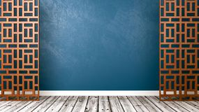 Empty Oriental Style Room with Copyspace. Empty Room with Oriental Style Wooden Lattice Partition, Wooden Floor and Blue Wall with Copy Space 3D Illustration Royalty Free Stock Images