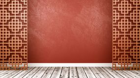 Empty Oriental Style Room with Copyspace. Empty Room with Oriental Style Wooden Lattice Partition, Wooden Floor and Red Wall with Copy Space 3D Illustration Stock Photography