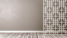 Empty Oriental Style Room with Copyspace. Empty Room with White Oriental Style Lattice Partition, Wooden Floor and Gray Wall with Copy Space 3D Illustration Stock Images