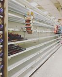 Empty. Out of stock shelves at Publix in Orlando, pre-Hurricane Matthew Stock Images