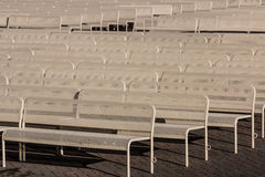 Empty Outdoor Audience Benches in Rows, Left Stock Photo