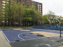 Empty outdoor basketball court stock photography
