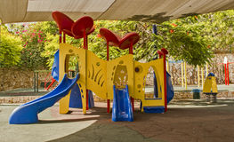 Empty outdoor colorful attractive playground Stock Photo