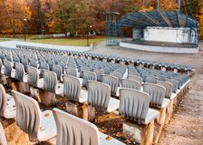 Empty Outdoor Concert Hall In Autumn Stock Photography