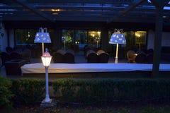 Empty outdoor evening restaurant Royalty Free Stock Photos